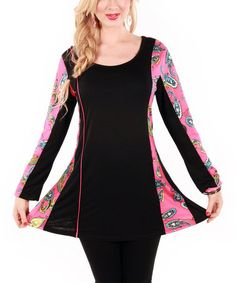 Look what I found on #zulily! Pink & Black Paisley Scoop Neck Tunic by Aster #zulilyfinds