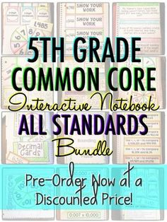Interactive Notebook: ALL 5TH GRADE STANDARDS MEGA-BUNDLE $