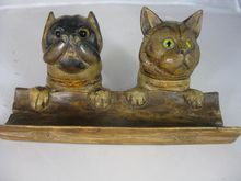 Black Forest Cat Inkwell and Dog Stamp Box