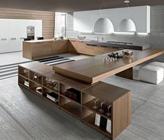Kitchen that looks more like a social space. Have everyone gather around as you cook without being in the way