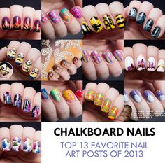 Chalkboard Nails pretty much has the best nail art ever. Love the bee nails & smoke nails especially.