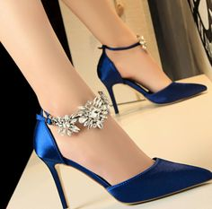 The Luxe Valentine Pumps take a simple silk shoe and add a little sparkle. These silk d'orsay style heels come in royal blue and silver and are strapped on at the ankle with sparkling crystal. These beautiful shoes are sure to accent your wedding event lo Prom Heels, High Heels Stilettos, Stiletto Heels, Satin Shoes, Women's Shoes, Blue Shoes, Shoes Heels Pumps, Platform Shoes, Pink Pumps