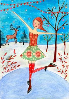 Original Painting, Ice Skating Girl with Christmas Tree and Baubles and Reindeer, Christmas Gift. $125.00, via Etsy.