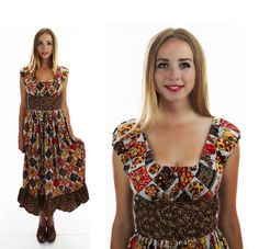 70s Patchwork Dress Vintage 60s Hippie Boho by neonthreadsdesigns, $40.00