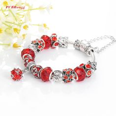 Antique Silver Original Women Glass Charm Bracelet & Bangle Fit European Charm Bracelet Luxury Bijoux PCBR0054