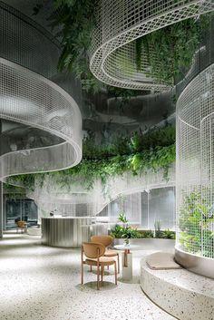 Cafe Design, Store Design, Ceiling Installation, Metal Ceiling, Terrazzo Flooring, White Gardens, Coworking Space, Cafe Interior, Interior Design