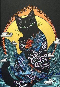 Arte Peculiar, Japanese Cat, Art Anime, Hippie Art, Art Graphique, Psychedelic Art, Pretty Art, Art Pop, Aesthetic Art
