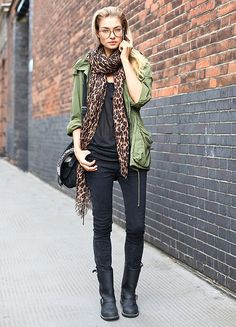 this outfit screams military, and animal print adds a pop to it