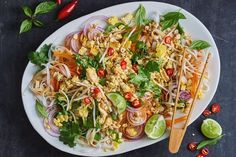 For a quick and easy vegetarian main try this flavoursome Thai noodle salad, tossed with soft tofu, fresh herbs and seasonal vegetables. Thai Noodle Salad, Thai Noodles, Thai Pasta, Midweek Meals, Weeknight Meals, Easy Meals, Tofu Recipes, Salad Recipes, Lunch Recipes