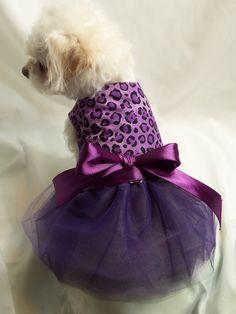 RockinDogs Purple and Black Leopard Tutu Dress for Dogs Easter Dress Formal Wear Wedding