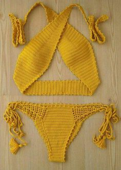 crochet bikini yellow women bikini swimwear women swim - C l o t h e s - Sexy Bikini Bikini Modells, Sexy Bikini, Women Bikini, Bikini Mayo, Mode Crochet, Knit Crochet, Crochet Summer, Beach Crochet, Crochet Tops