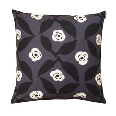Marimekko Poppy Grey / White / Black Throw Pillow The Marimekko Poppy Throw Pillow is modern in a color scheme of grey, white, and black. Maija Isola achieves this stunning grid like element with the charming white roses and poppy leaves.
