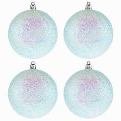 Blue Tinsel Glitter Ball Ornaments