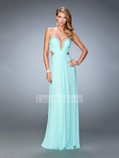 Chiffon Gathered Bodice with Plunging Sweetheart Prom Dress PD12184
