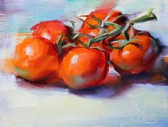 """Daily Paintworks - """"Tomatoes on the Vine"""" - Original Fine Art for Sale - © Pamela Blaies Painting Still Life, Still Life Art, Tomato Drawing, Vegetable Painting, Food Sketch, Love Oil, Daily Painters, Fruit Painting, Veggies"""