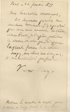 Autographed letter from Victor Hugo to the committee members for the statue of George Sand La Chatre