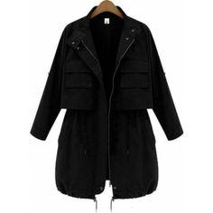 Black Long Sleeve Drawstring Pockets Trench Coat
