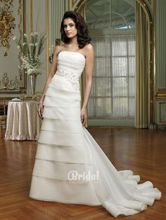 two piece slim a line multi tiered organza wedding gown detachable bands