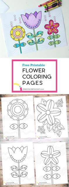 Colored these five Flower Coloring Pages and talk about flowers, leaves, and the magical spring season. Free printables included.