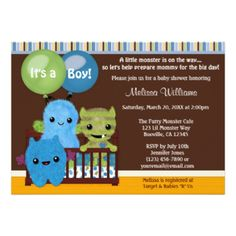 "Design Description An EXCLUSIVE original design by MonkeyHutDesigns. Features adorable baby monsters in a crib in the nursery. Balloons display ""It's a Boy!"" or can be customized to your desired wording. Features: shades of BLUE/TEAL, GREEN/LIME and BROWN color theme. This MonkeyHutDesigns baby shower invitation coordinates with the popular Peek a Boo Monsters Baby Crib Bedding set. It's such a cute theme and it's perfect for a BOY. USE the Customize it! button to change fonts and layout of…"
