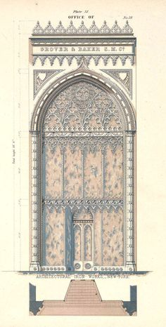 New York - Design for a cast iron office facade Gothic Revival century Cathedral Architecture, Revival Architecture, Islamic Architecture, Architecture Drawings, Gothic Architecture, Historical Architecture, Architecture Design, Architectural Prints, Architectural Antiques