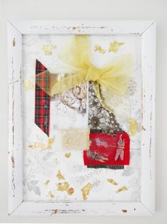 FRENCH SHABBY CHIC STYLE ORIGINAL COLLAGE ART PICTURE FRAMED RED & GOLD