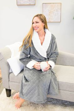 9b4851bdce PajamaMania Luxury Robe is a luxurious plush fleece robe with long sleeves