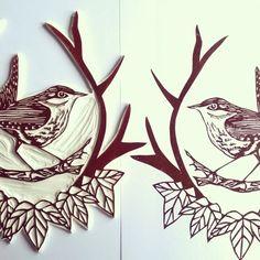 Test print of hand carved lino block of winter wren