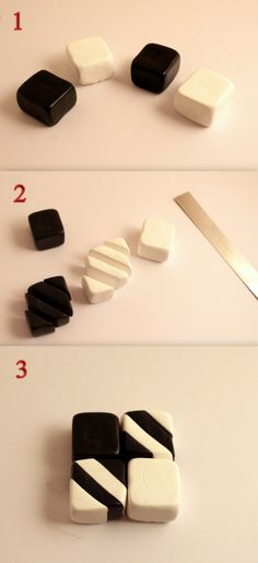 making a geometric polymer clay cane.