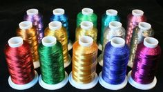 Set has 15 Mini King Cones of Metallic Machine Embroidery thread. There is 1100 yards of Thread on each spool. Each spool is individually shrink wrapped to protect from dust.
