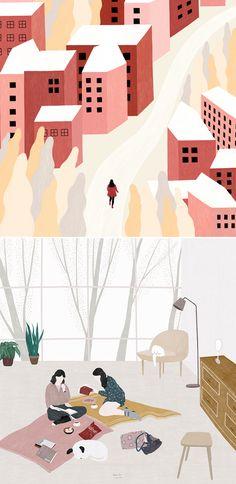 Landscape illustrations by Lylean Lee #illustration #illustrationart