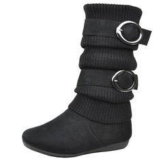 Kids Knitted Fabric and Suede Double Buckle Mid Calf Boots Black Girls Footwear, Girls Shoes, Cute Boots, Knitting For Kids, Mid Calf Boots, Knitted Fabric, Black Boots, Casual Shoes, Calves