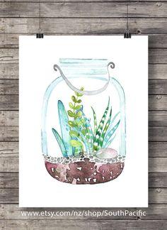Cacti terrarium art print | Watercolor cactus | Hand painted watercolor cactus…