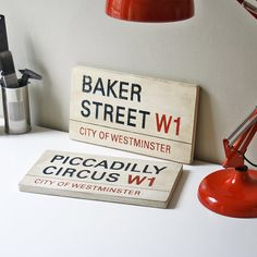 Handcrafted London street signs.