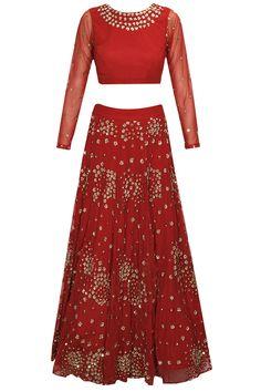 Wine red sequins embroidered lehenga set by Astha Narang. Shop now: http://www.perniaspopupshop.com/designers/astha-narang #lehenga #asthanarang #shopnow #perniaspopupshop