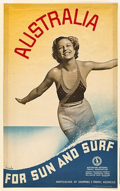 For Sale on - Original vintage travel advertising poster: Australia For Sun and Surf published by the Australian National Travel Association. Tourism Poster, Poster Ads, Advertising Poster, Poster Prints, Surf Posters, Beach Posters, Vintage Advertisements, Vintage Ads, Vintage Prints