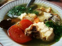 Russian Clear Fish Soup with Lemon Peel, Fresh Dill and Tomato / White Ukha (potato-free, sub wine with verjuice)