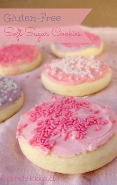 Gluten Free Sugar Cookies You don't have to gaze longingly at those soft sugar cookies at the store. Try these gluten-free Lofthouse copycat sugar cookies. You won't miss the gluten at all and there are dairy-free options too! Gluten Free Deserts, Gluten Free Sweets, Foods With Gluten, Gluten Free Baking, Gluten Free Recipes, Gluten Free Products, Celiac Recipes, Gluten Free Sugar Cookies, Sugar Cookies Recipe