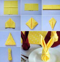 Doblar servilletas en forma de conejo