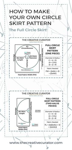 Full Circle Skirt: Make a Circle Skirt Pattern! Want to sew a full circle skirt for yourself? Learn how to make a circle skirt pattern and sew a full circle skirt as well as a half and circle skirt. Diy Circle Skirt, Circle Skirt Tutorial, Full Circle Skirts, Circle Dress, Sewing Projects For Beginners, Sewing Tutorials, Sewing Hacks, Sewing Tips, Learn Sewing