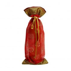 Silk Sari Wine Bottle Gift Bag in Red