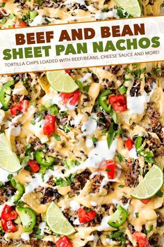 Beef and Bean Sheet Pan Nachos These sheet pan nachos are perfect for any party! Layer after layer of mouthwatering flavor, smothered with a jalapeño cheese sauce and loaded with classic nacho toppings! Dinner Recipes Easy Quick, Delicious Dinner Recipes, Appetizer Recipes, Easy Meals, Appetizers, Cheap Meals, Mexican Food Recipes, Ethnic Recipes, Nacho Recipes