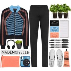 Wool-Blend Jacket by lover-of-pie on Polyvore featuring Versace, adidas, 3 Chic, Aesop, Boskke, Rosanna, The French Bee, Fujifilm, Nixon and Sharpie