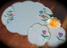 Check out this item in my Etsy shop https://www.etsy.com/uk/listing/482296019/vintage-embroidered-floral-irish-linen