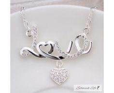 Collier LOVE mit Herzchen & Zirkonias pave aus 925 Silber...