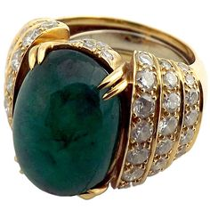 David Webb Emerald Diamond Gold Ring   From a unique collection of vintage more…