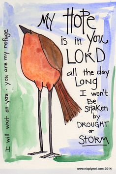 Bible Verse My Hope is in you Lord Bird Through Storms Illustrated Watercolor Print