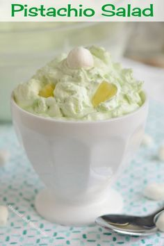 Pistachio Salad, or Watergate Salad, is made with only 4 ingredients and is light, fluffy and makes a delicious side or dessert salad for potlucks, parties, picnics or holidays. It's a classic retro recipe that's worth revisiting! Salad Recipes For Dinner, Easy Salad Recipes, Fruit Recipes, Dessert Recipes, Delicious Recipes, Lime Jello Salads, Fruit Salads, Fruit Salad With Marshmallows, Watergate Salad