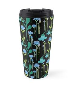 A dark night meadow. Floral print featuring quirky flowers with a hint of retro style. Dark Night, Retro Style, Travel Mug, Retro Fashion, Floral Prints, Phone Cases, Mugs, Artwork, Flowers