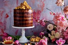 Double-chocolate and salted-caramel mud cake Caramel Mud Cake, Salted Caramel Popcorn, Caramel Color, Milk Chocolate Ganache, Chocolate Mud Cake, Best Chocolate, Salted Butter, Celebration Cakes